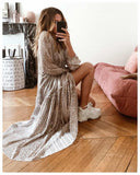 Fashion Floral Stitching Long Sleeve Loose Dress