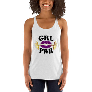 Gym Ready Barbell with Plum Lips GRL PWR Women's Racerback Tank Top
