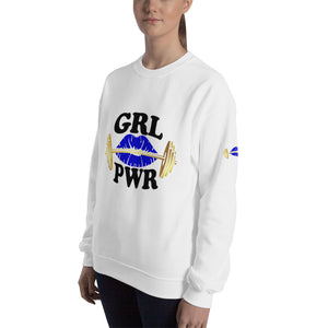 Gym Ready Gold Barbell with Blue Lips GRL PWR Women's Sweatshirt