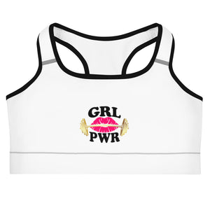 Gym Ready Barbell with Rose Lips GRL PWR Women's Sports bra