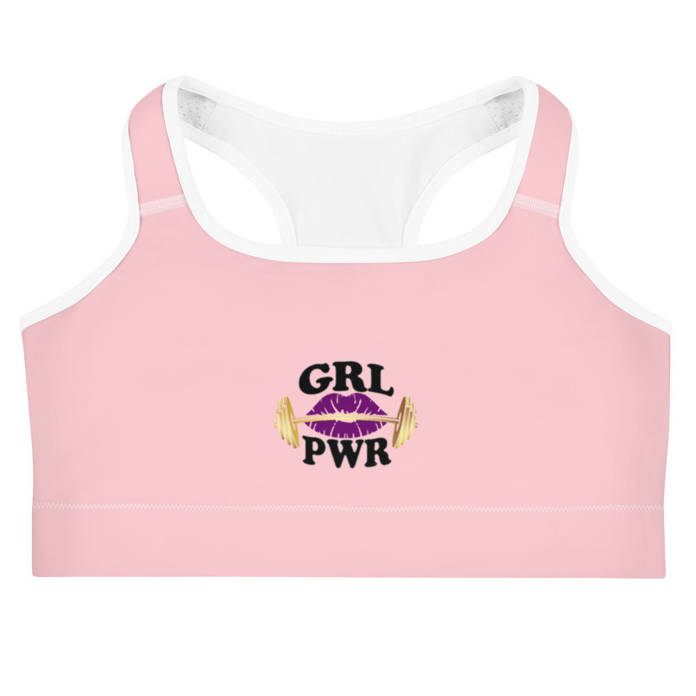 Gym Ready Gold Barbell with Plum Lips GRL PWR Women's Sports Bra