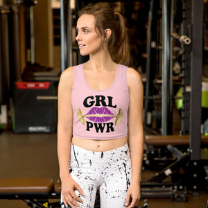 Gym Ready Golden Barbell with Plum Lips GRL PWR Women's Crop Top
