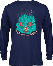 Backroad and Bonfires- Long Sleeve- Navy