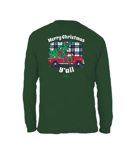 Plaid Christmas Yall- Long Sleeve- Forest Green