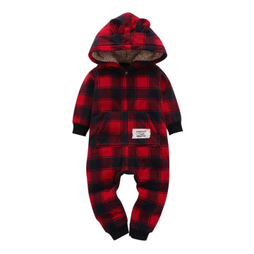 Red + Black Hooded Fleece Jumpsuit