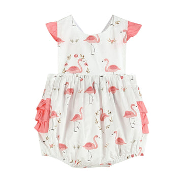 Ruffle Flamingo Bubble Romper - Baby Couture Co.