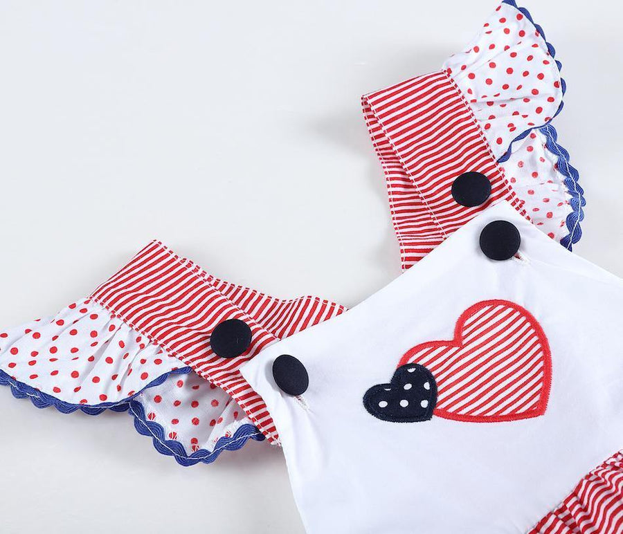 Smocked Heart Patriotic Gingham Bubble Romper - Baby Couture Co.