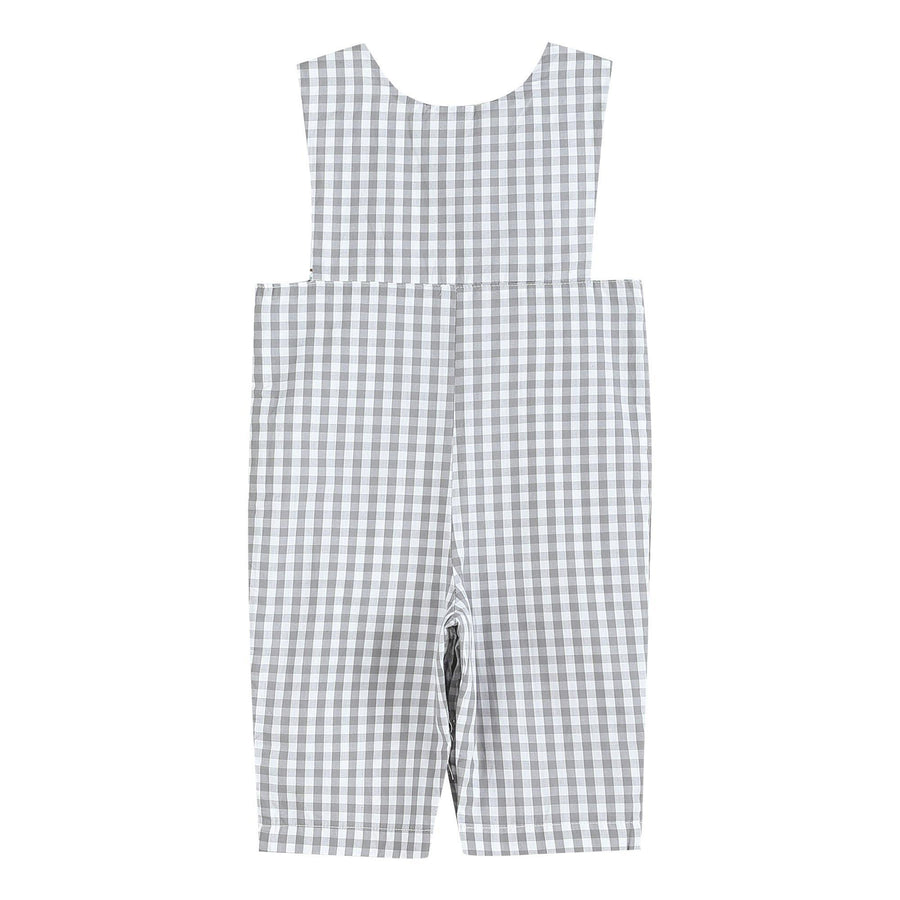 Smocked Mallard Duck Gray Gingham Longalls - Baby Couture Co.