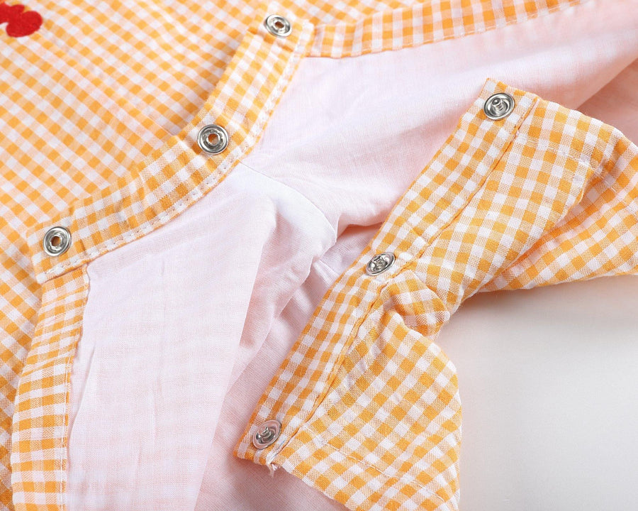 Smocked Nautical Orange Gingham Jon Jon - Baby Couture Co.