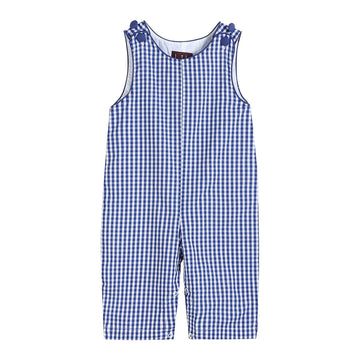 Basic Dark Blue Gingham Longalls - Baby Couture Co.