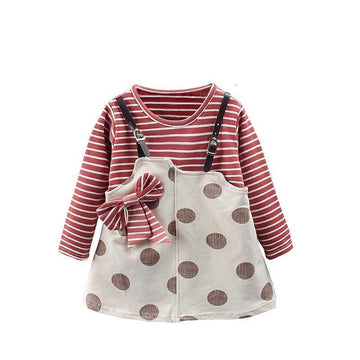Spots + Stripes Long Sleeve Christmas Dress - Baby Couture Co.