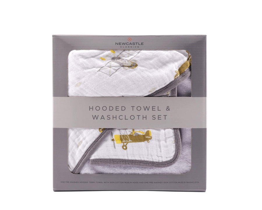 Airplane + Elephant Hooded Towel and Washcloth Set - Baby Couture Co.
