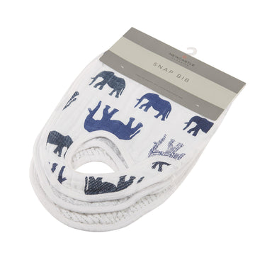 Wild Elephant Snap Bibs - Set of 3 - Baby Couture Co.