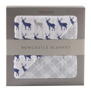 Blue Deer + Glacier Grey Plaid Blanket - Baby Couture Co.