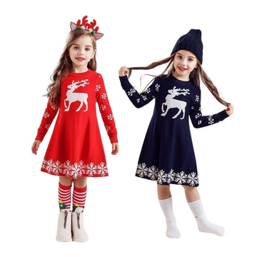 Reindeer and Snowflakes Long Sleeve Christmas Dress