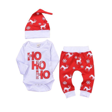 Santa + Reindeer Christmas Outfit - 3-Piece Set - Baby Couture Co.
