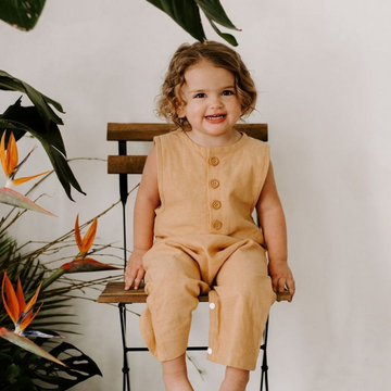 Finley Romper in Sand - Baby Couture Co.