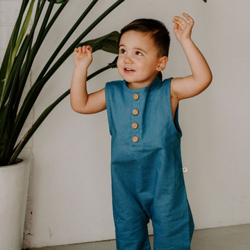 Finley Romper in Cobalt - Baby Couture Co.