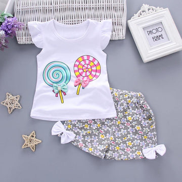 Lollies and Flowers Outfit - Sleeveless Tee and Shorts Set - Baby Couture Co.