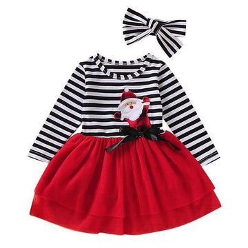 Striped Santa Dress + Bow - Baby Couture Co.