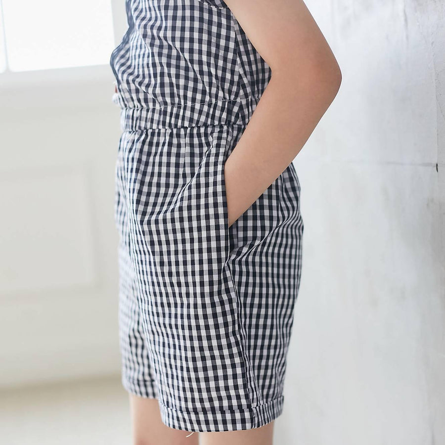 Navy & White Gingham Romper - Baby Couture Co.