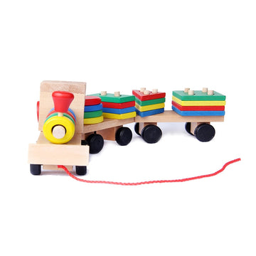 Wooden Geometric Shapes Train Set
