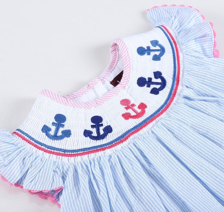 Smocked Anchor Striped Dress