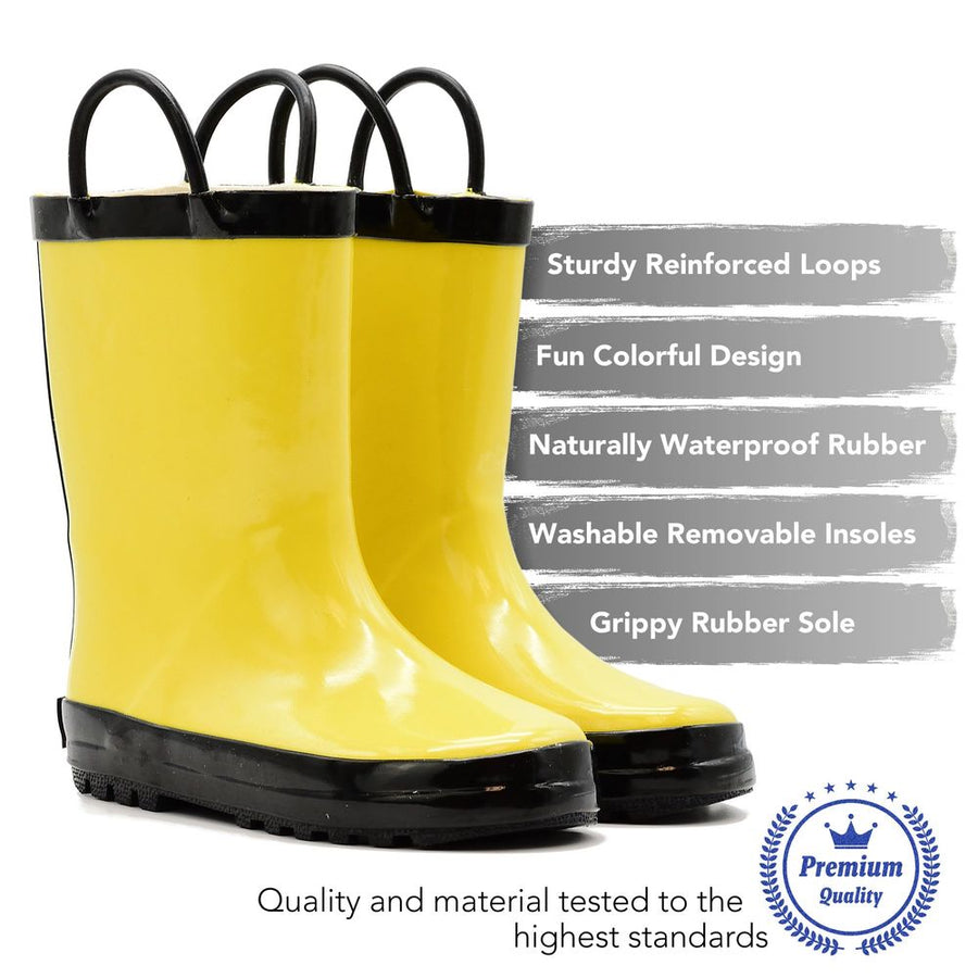 Waterproof Rain Boots - Yellow + Black