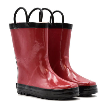 Waterproof Rain Boots - Red + Black