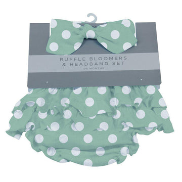 Jade Polka Dot Ruffle Bloomers + Headband Set - Baby Couture Co.