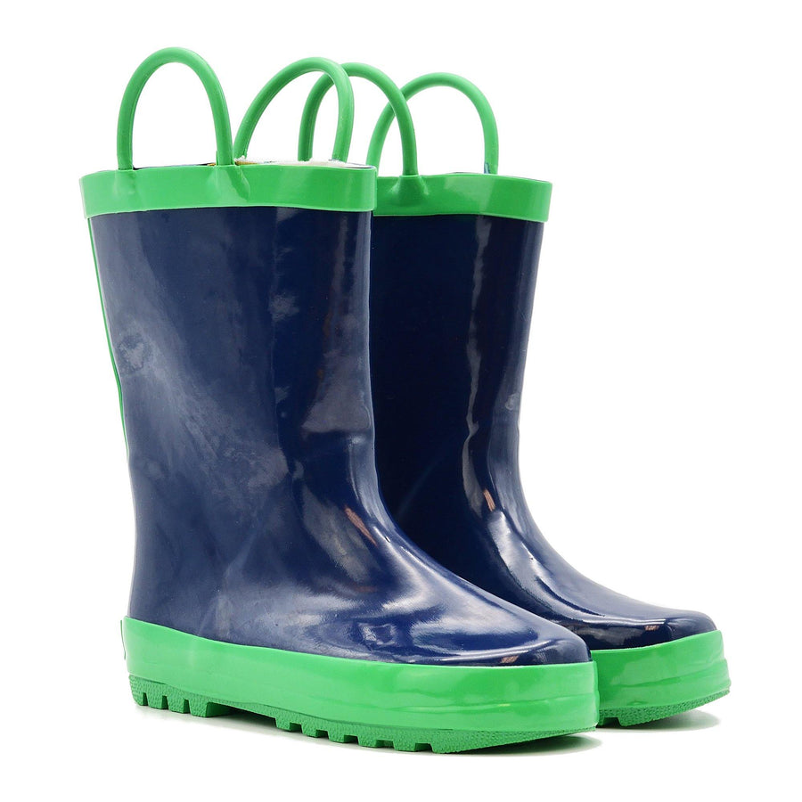 Waterproof Rain Boots - Navy + Green - Baby Couture Co.