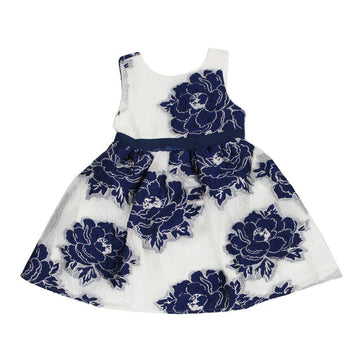 White & Blue Rose Dress - Baby Couture Co.