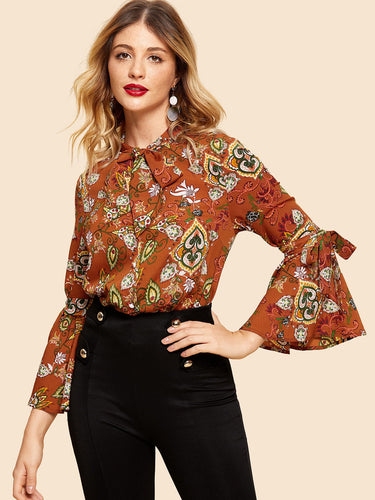 Tie Neck and Sleeve Tribal Top
