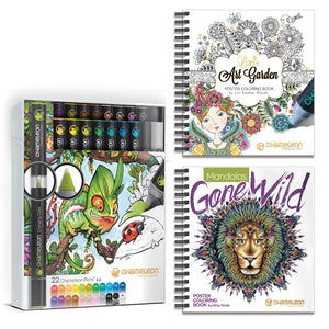 Chameleon Bundle - 22 Pen Deluxe Set & Coloring Books