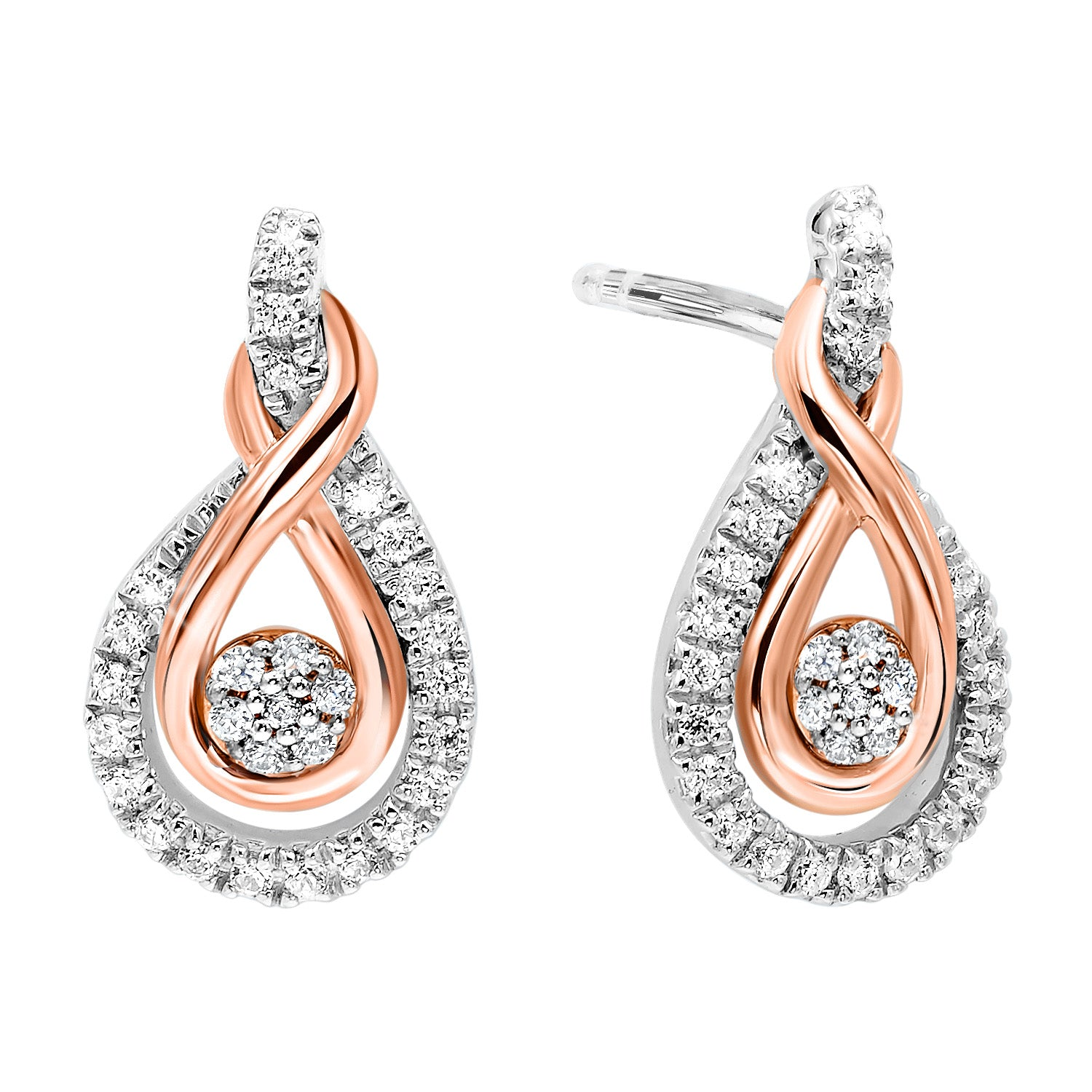 Gold & Silver Diamond Earrings