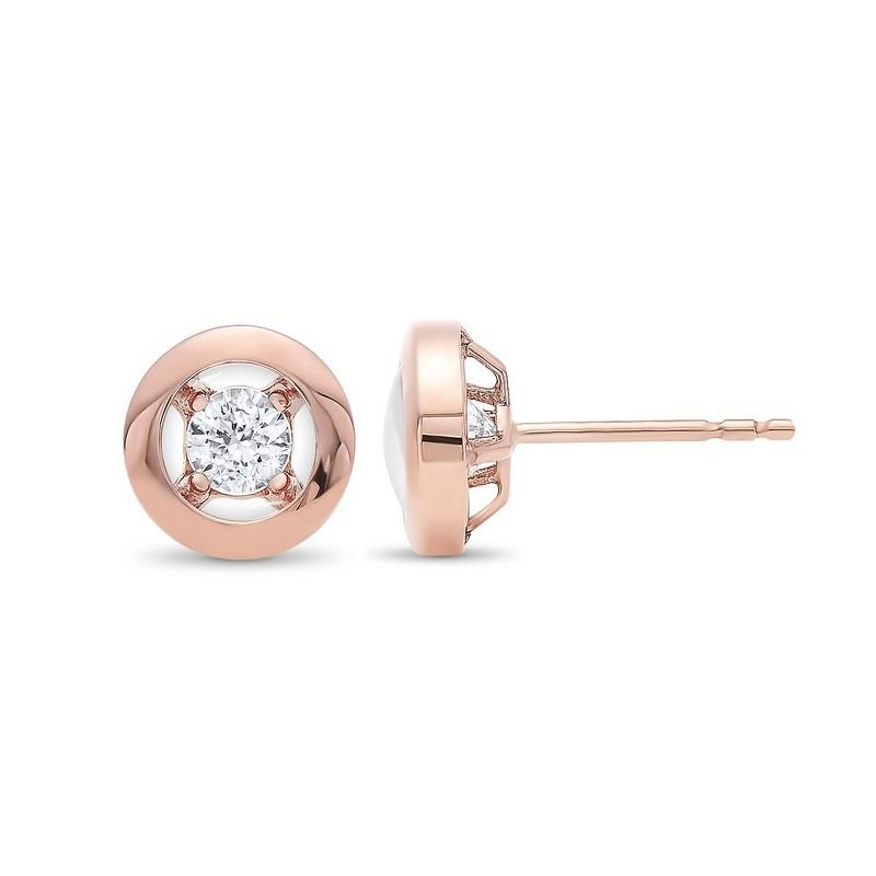 10K Rose Gold Diamond Earrings 1/6 ct