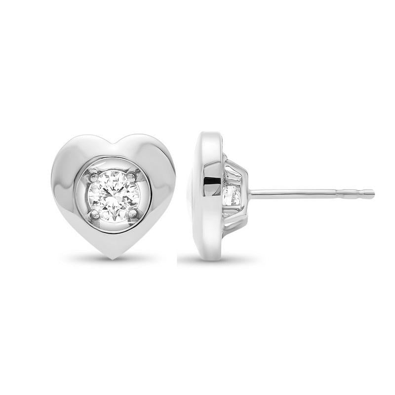 10K White Gold Diamond Earrings 1/7 ct