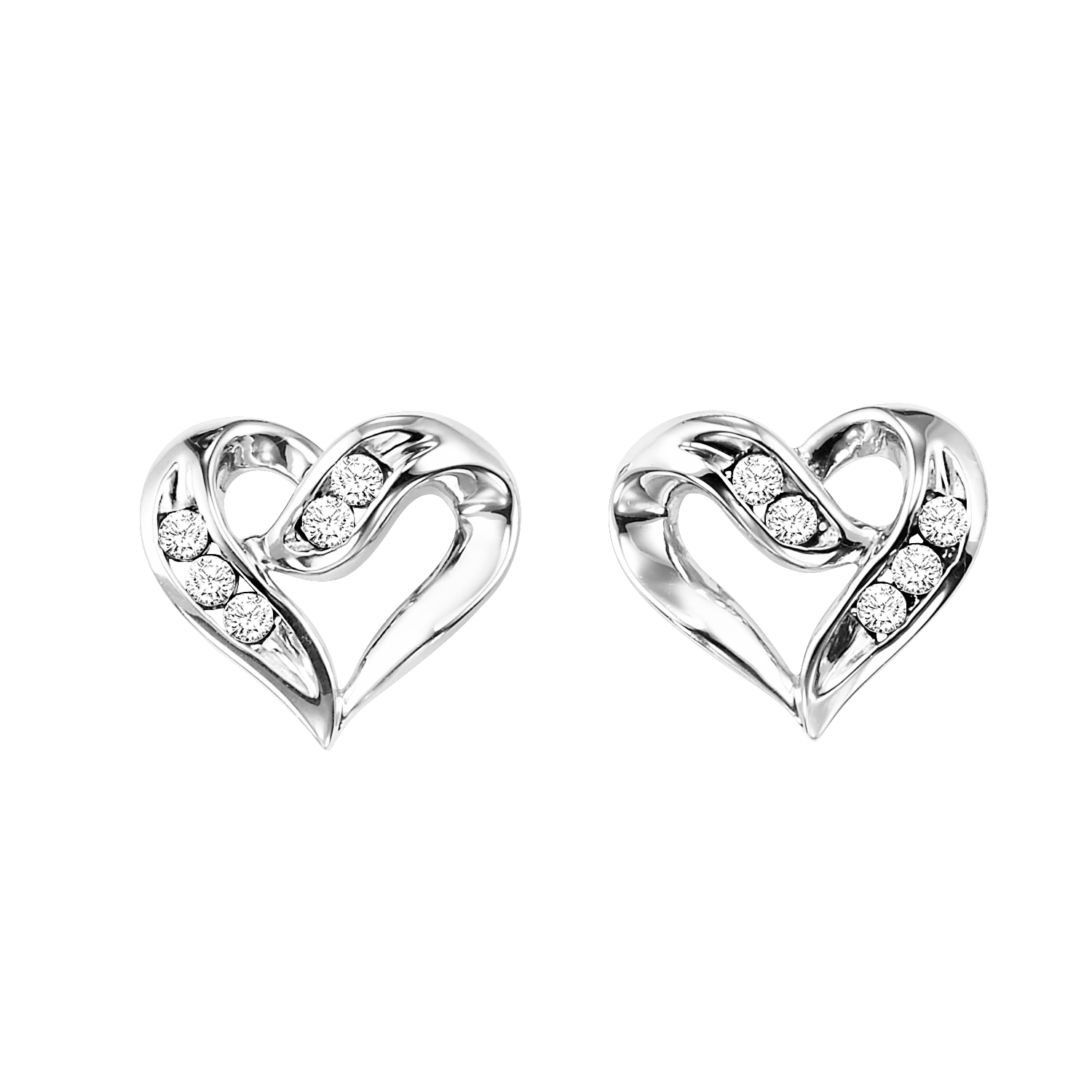 Silver Diamond Heart Earrings