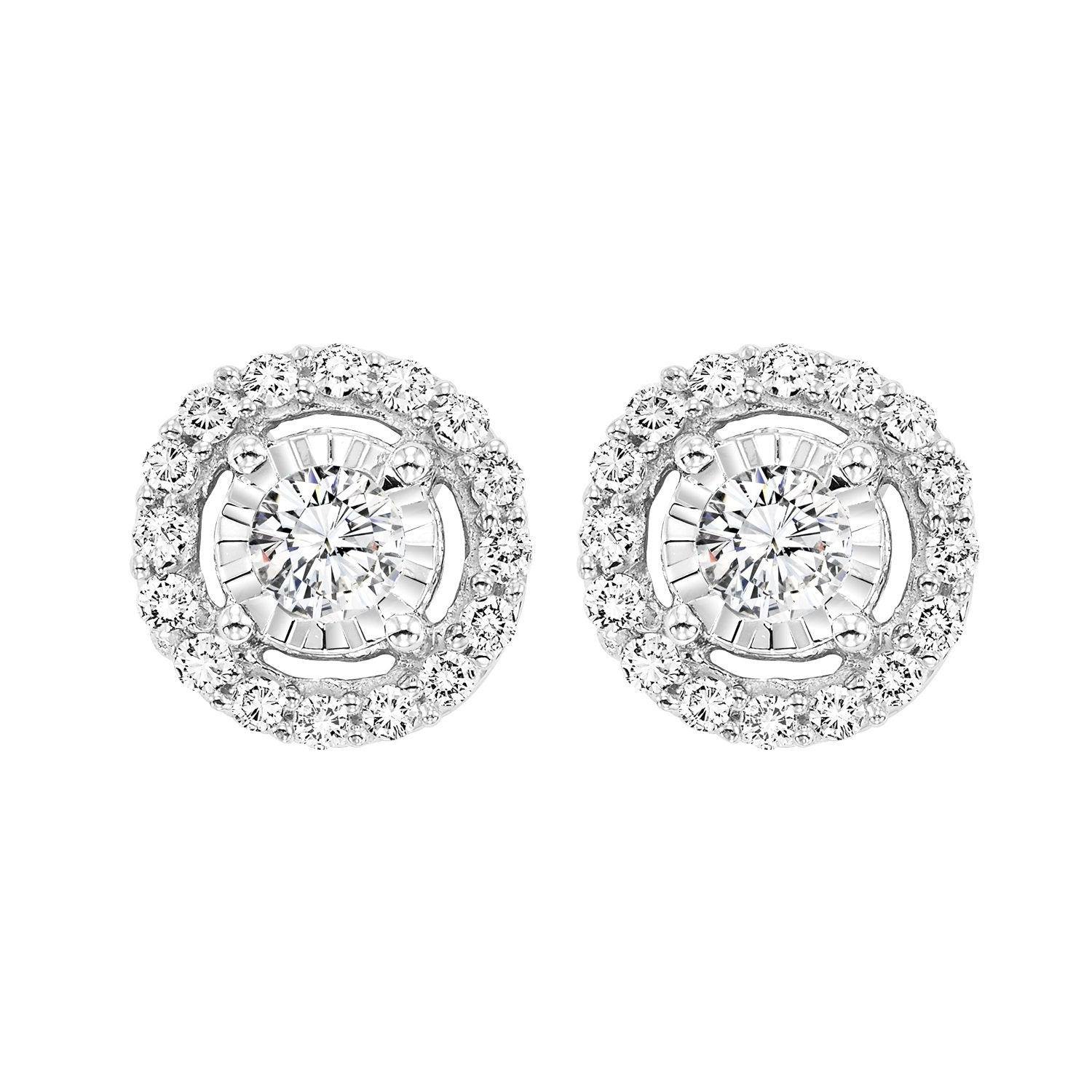 14K White Gold Diamond Earrings 1 ct