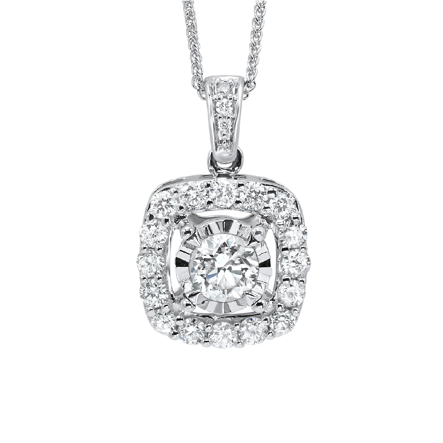 14K White Gold Diamond Pendant 1/2 ct