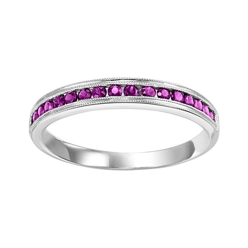 10K White Gold Ruby & Diamond Stackable Ring