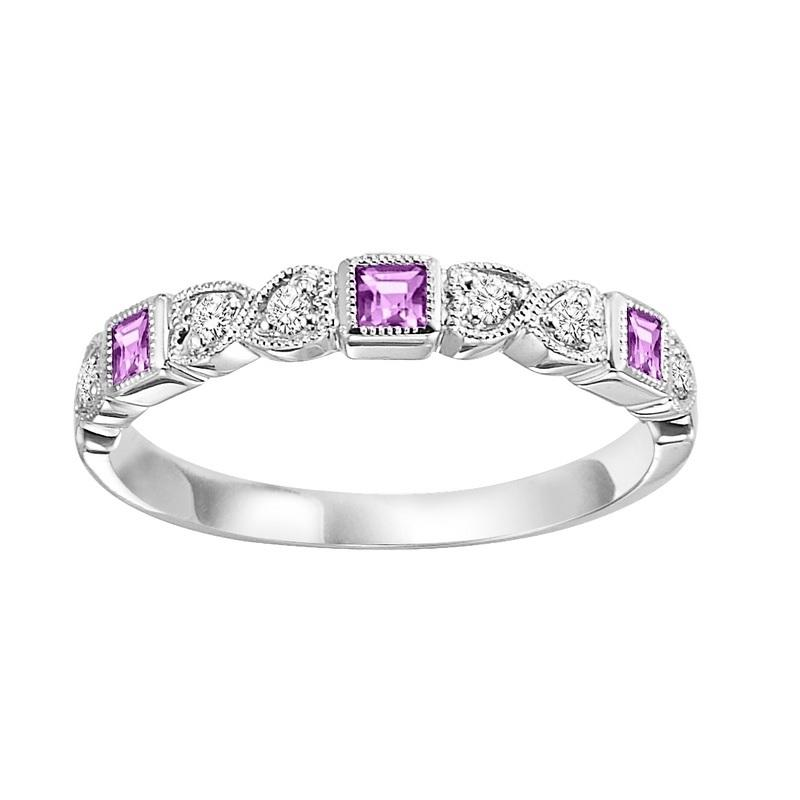 10K White Gold Pink Sapphire & Diamond Stackable Ring