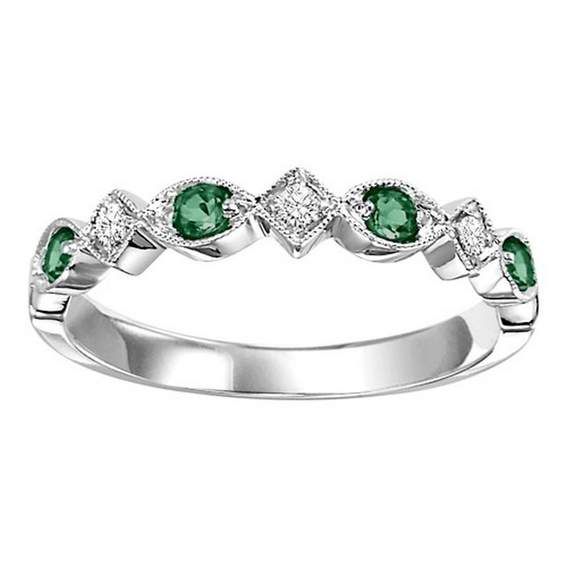 14K White Gold Emerald & Diamond Stackable Ring