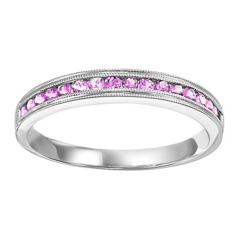 14K White Gold Pink Sapphire Stackable Ring