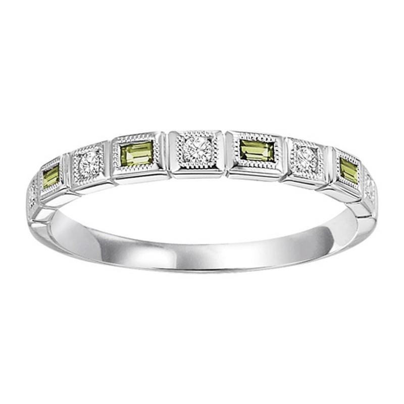 10K White Gold Peridot & Diamond Stackable Ring