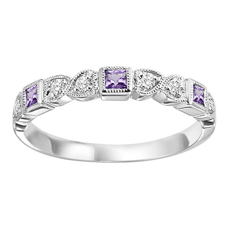 10K White Gold Amethyst & Diamond Stackable Ring