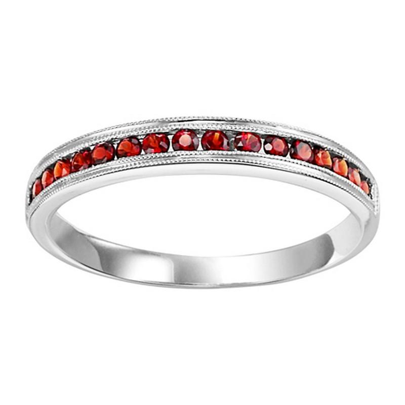 10K White Gold Garnet & Diamond Stackable Ring