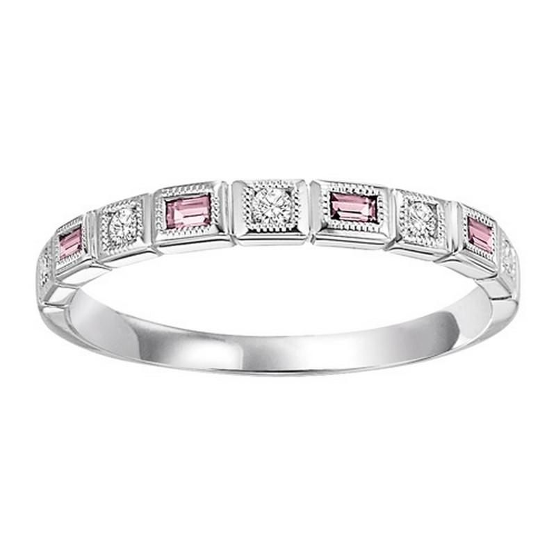 14K White Gold Diamond & Pink Tourmaline Ring