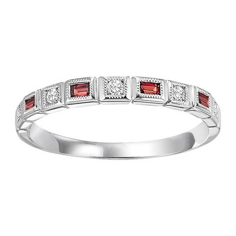14K White Gold Diamond & Garnet Ring