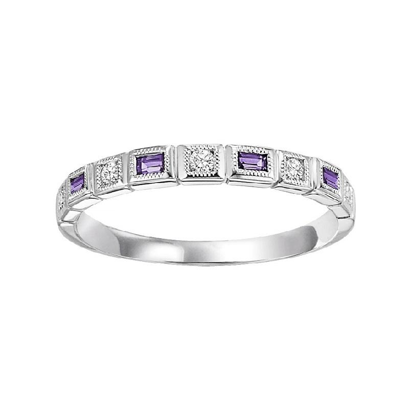 14K White Gold Diamond & Amethyst Ring